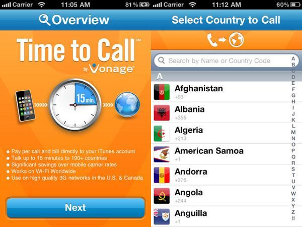 Vonage Time to Call app lets you make international calls from your iPhone, pay through iTunes