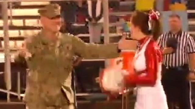 Soldier Surprises Cheerleading Daughter at Pep Rally