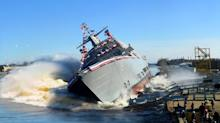Watch Lockheed Martin drop a new combat ship into a river