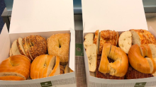 A tweet depicting bagels sliced like loaves of bread is causing people to freak out