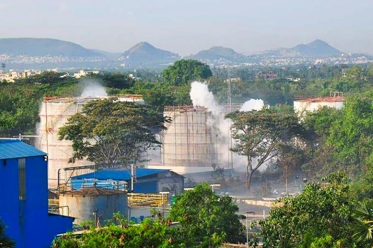 A gas leak at the LG Polymers plant killed 12 people and knocked others unconscious in the street (AFP Photo/-)