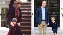 Comparamos el primer día de colegio del príncipe Guillermo con el de su hijo George
