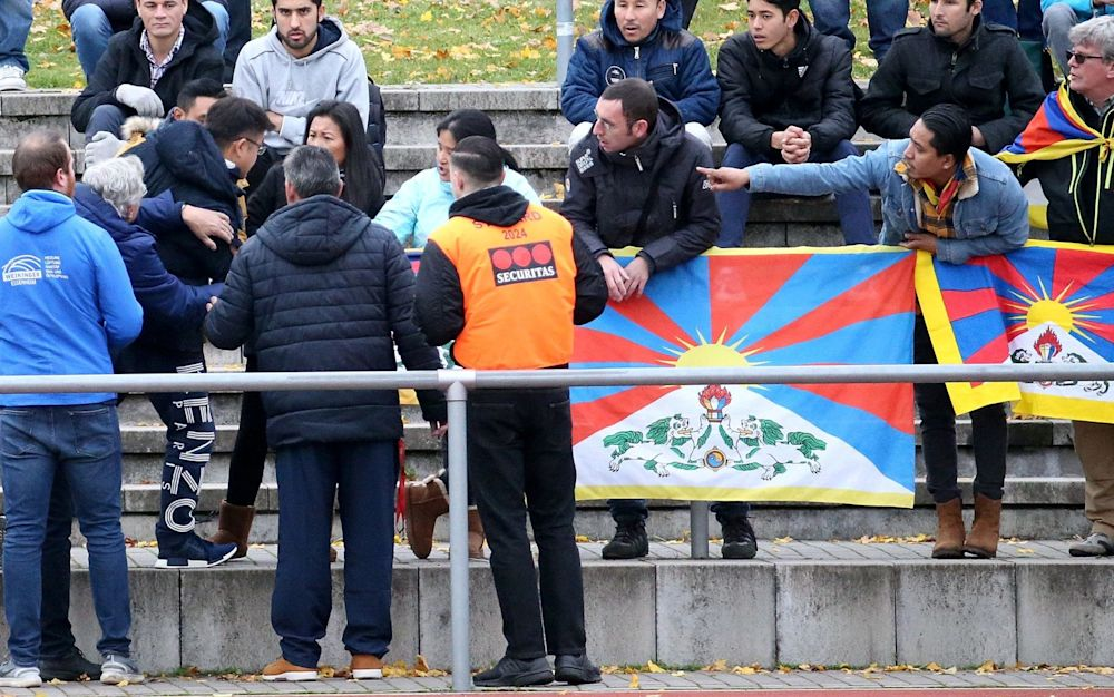 A Chinese spectator attempts to tear away a Tibetian flag which was raised by others in protest of China's politics regarding Tibet at the friendly match between TSV Schott Mainz and China's U20 team at the regional sports facility in Mainz, Germany, - dpa