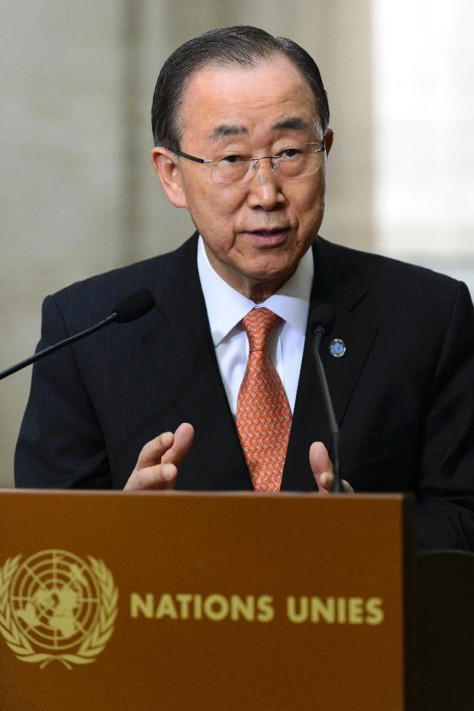 Ban Ki-moon gestures gives a press briefing in Geneva on February 29, 2016 (AFP Photo/Fabrice Coffrini)