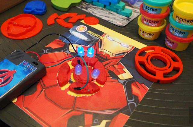 Kids play mechanics for Marvel heroes with the Electro Hero Kit