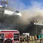 57 Suffer Fire and Smoke Injuries as Navy Ship Bonhomme Richard Continues to Burn