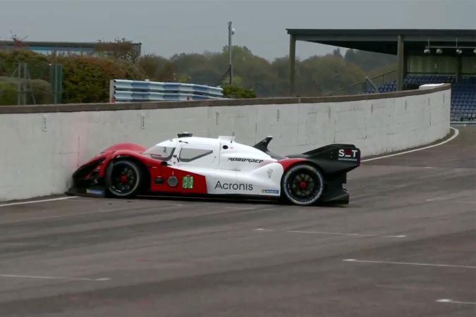 Team Acronis SIT's Roborace car drives into a wall