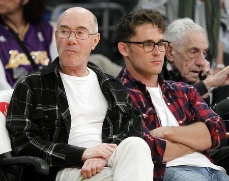 Movie mogul David Geffen sits courtside before the NBA basketball game between Los Angeles Lakers and Sacramento Kings in Los Angeles