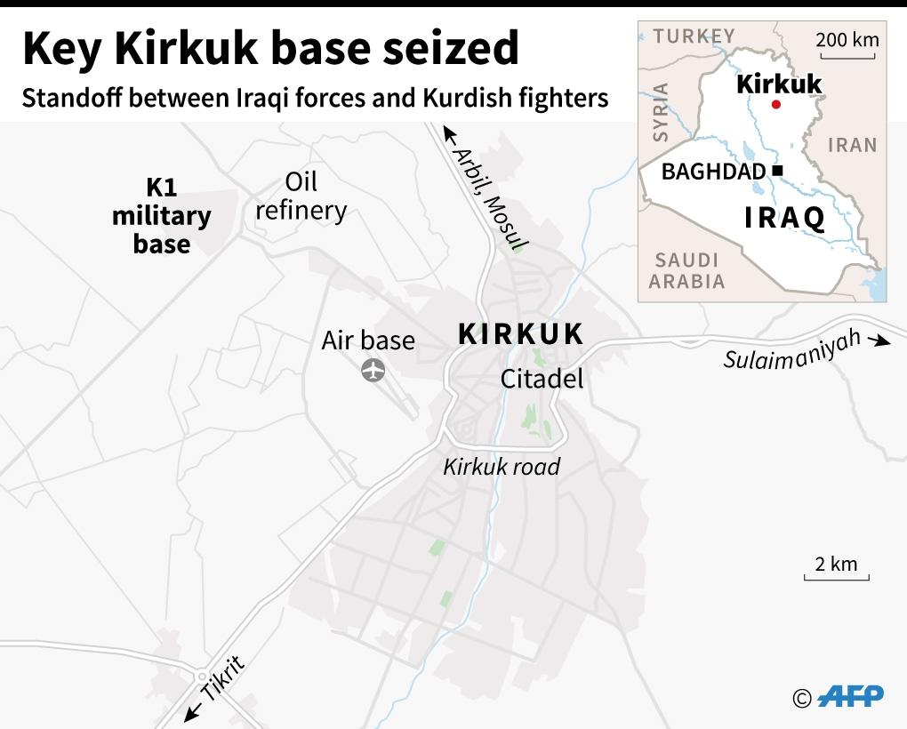 Map of Kirkuk locating the city centre and its principal military airbase, which Iraqi forces say they have seized from Kurds. (AFP Photo/Jonathan STOREY)
