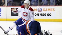 Islanders' Boychuk gets face sliced by Canadiens' Lehkonen's skate