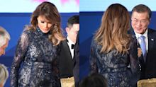 Melania Trump made a naked dress look appropriate for a presidential trip abroad