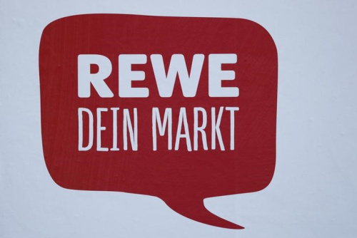 A sign reading 'Rewe Your Market' is pictured in a German supermarket Rewe in Hanau