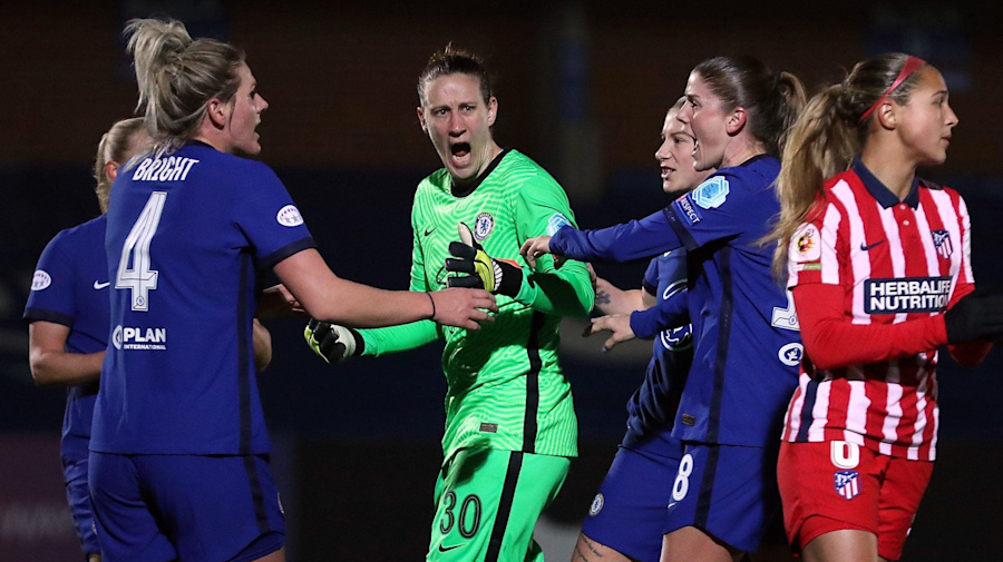 Chelsea Women down to 10 and concede two penalties — but still beatAtletico Madrid in Champions League last 16