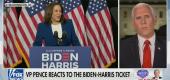 Mike Pence reacts to Joe Biden's selection of Sen. Kamala Harris as his running mate. (Fox News)