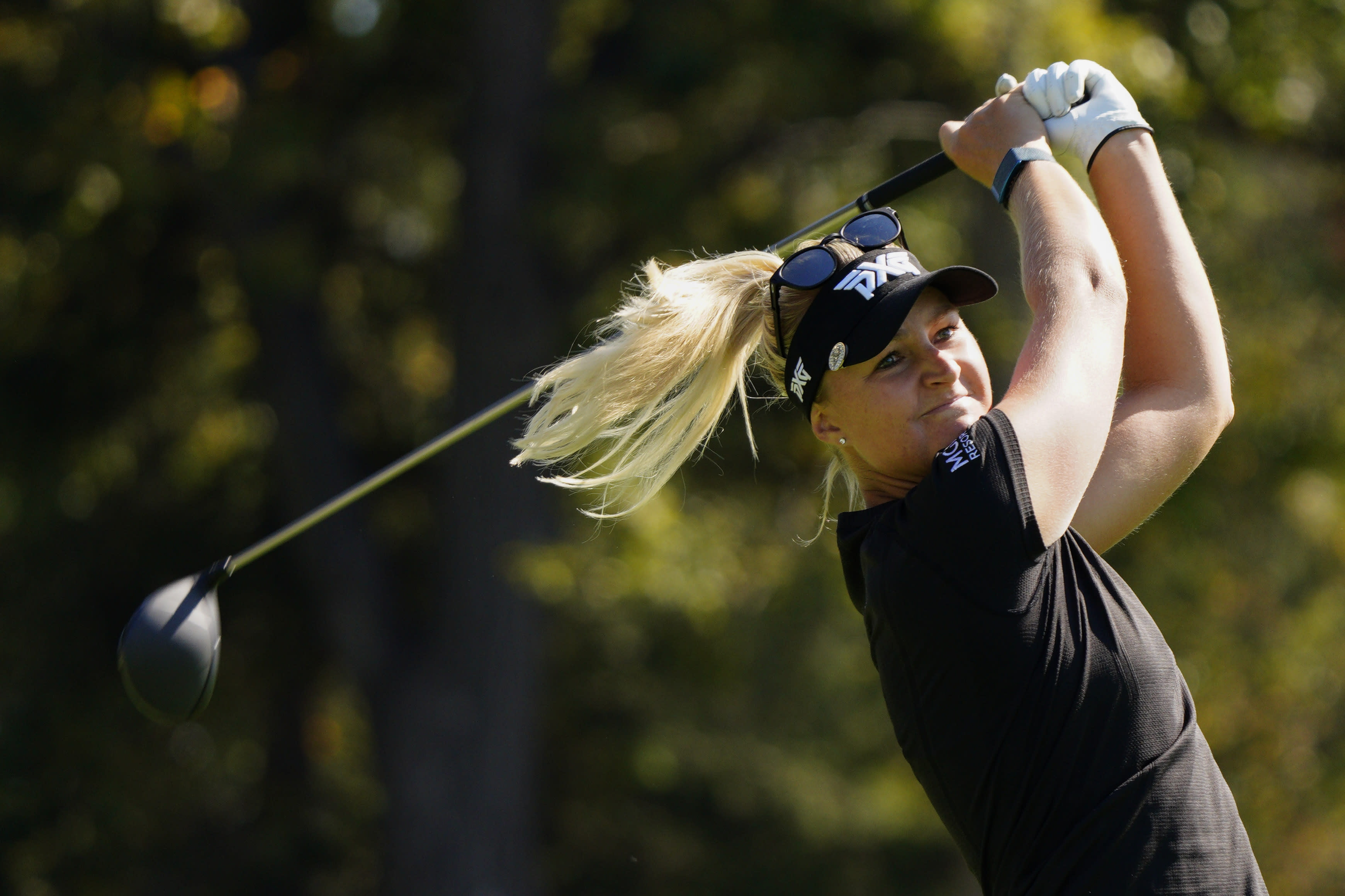 Anna Nordqvist, of Sweden, watches her tee shot on the second hole during the second round of the KPMG Women's PGA Championship golf tournament at the Aronimink Golf Club, Friday, Oct. 9, 2020, in Newtown Square, Pa. (AP Photo/Chris Szagola)