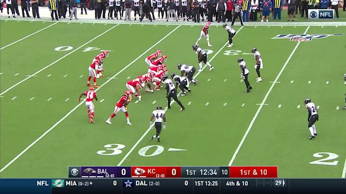 Ravens' blitz pressures Mahomes into intentional grounding penalty