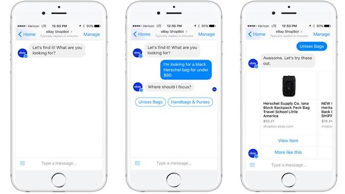 eBay teams up with Facebook Messenger to launch shopping bot