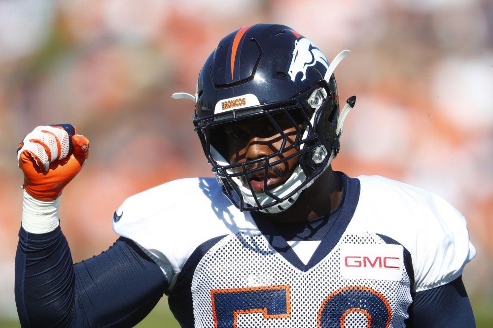 Denver Broncos outside linebacker Von Miller (58) lost a sponsorship after kneeling for the national anthem. (AP)