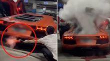 $780,0000 Lamborghini goes up in smoke as man tries to BBQ steak