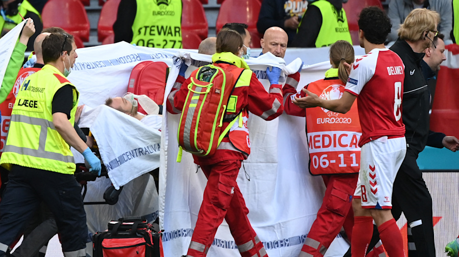 Denmark player collapses on field at Euro 2020
