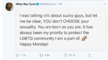 Miley Cyrus responds to LGBTQ backlash after saying 'You don't have to be gay'