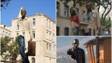 超型法國藝術雕像 「旅行者」身體缺失一部份