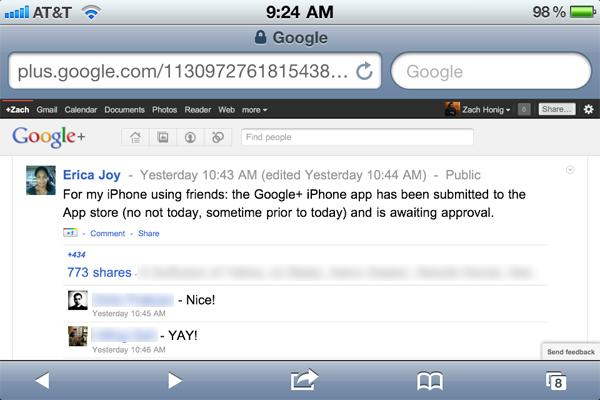 Google+ iOS app already submitted for Apple's approval, employee says