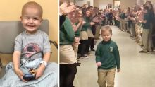 Boy gets standing ovation from classmates after finishing chemo