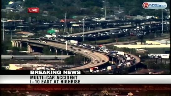 I-10 at highrise eastbound closed after 9 vehicle accident, police say