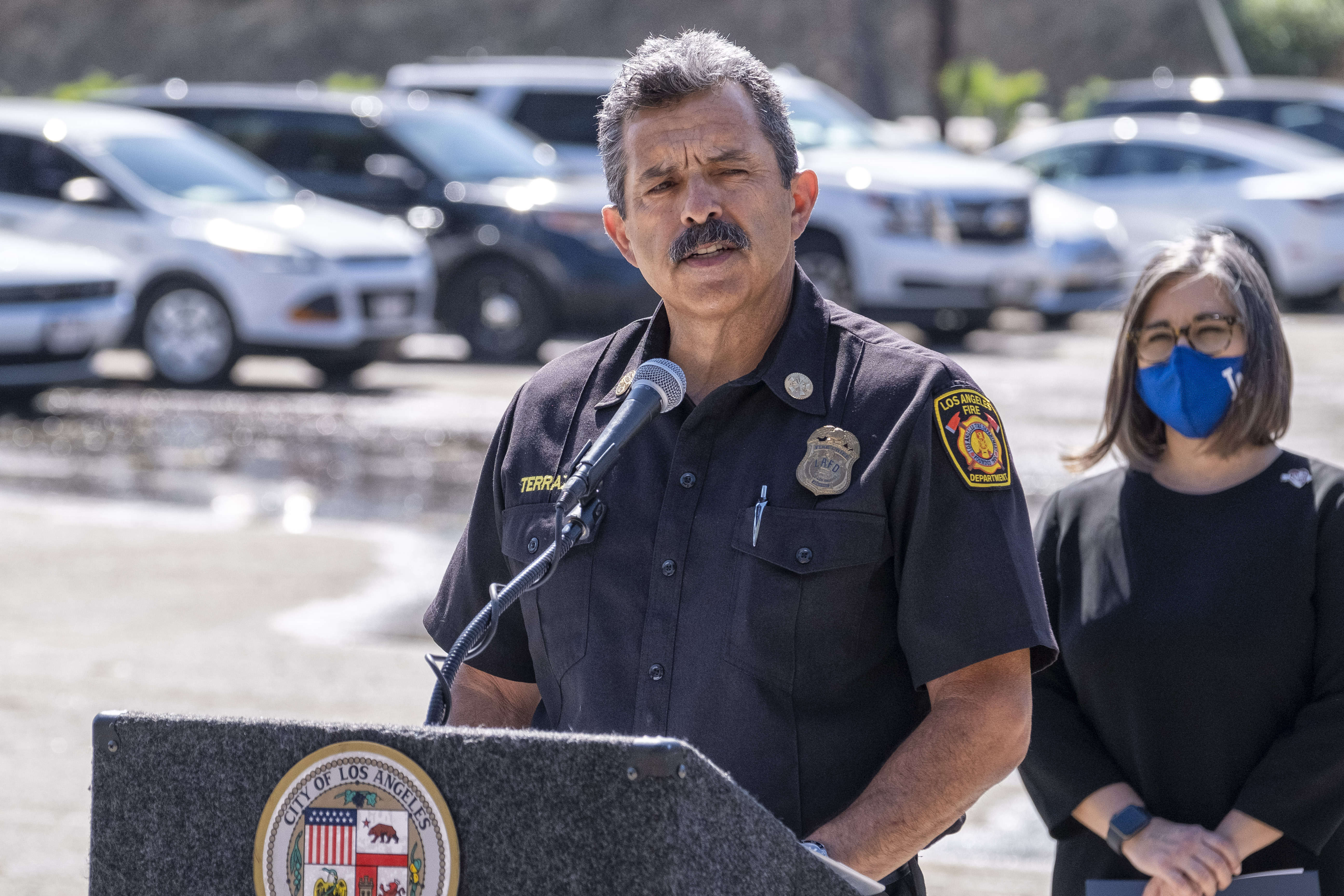 Los Angeles City Fire Department Chief Ralph Terrazas speaks during a press conference unveiling the department's Thermite RS3 robotic vehicle in a parking lot adjacent to the Frank Hotchkin Memorial Training Center, Tuesday, Oct. 13, 2020. (Hans Gutknecht/The Orange County Register via AP)