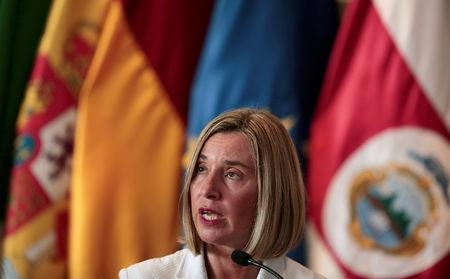 European Union High Representative for Foreign Affairs and Security Policy Federica Mogherini speaks during a news conference after a meeting of the International Contact Group (IGC) to discuss their support for a political solution to Venezuela's political crisis, in San Jose, Costa Rica May 7, 2019. REUTERS/Juan Carlos Ulate