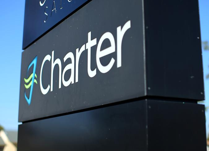 A Charter Communications company store sign is pictured in Long Beach, California, U.S., January 26, 2017.   REUTERS/Mike Blake