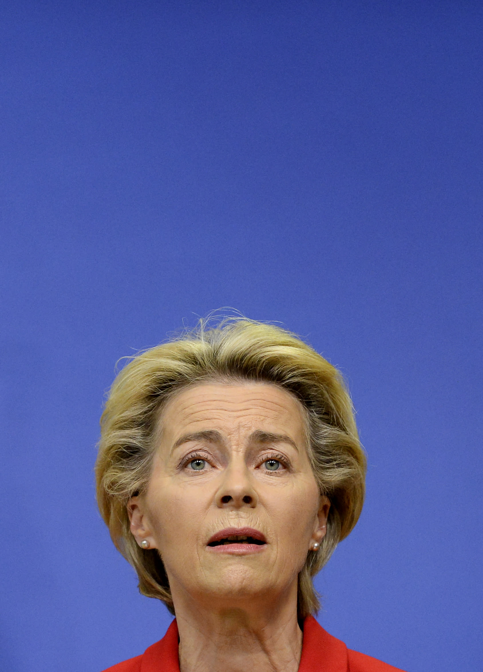 European Commission President Ursula von der Leyen makes a statement regarding the Withdrawal Agreement at EU headquarters in Brussels, Thursday, Oct. 1, 2020. The European Union took legal action against Britain on Thursday over its plans to pass legislation that would breach parts of the legally binding divorce agreement the two sides reached late last year. (Johanna Geron, Pool via AP)
