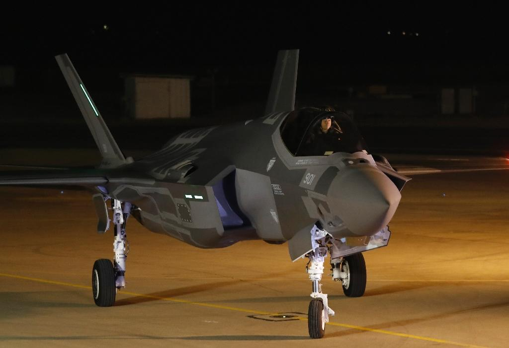 A F-35 fighter jet is seen after landing in the Israeli Nevatim air base in the Negev desert on December 12, 2016 (AFP Photo/Jack GUEZ)