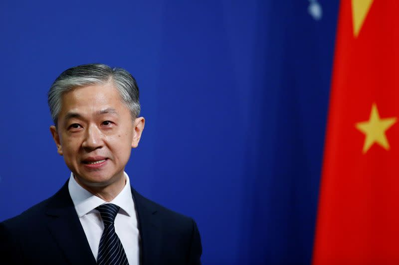New spokesman for Chinese Foreign Ministry Wang Wenbin speaks during a news conference in Beijing