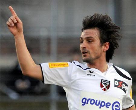 Neuchatel Xamax's Sanel Kuljic celebrates his goal during their Swiss Super League soccer match against AC Bellinzona in Bellinzona