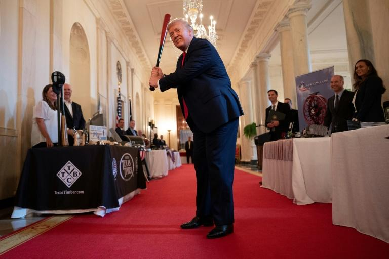 US President Donald Trump in the grand foyer of the White House earlier in July