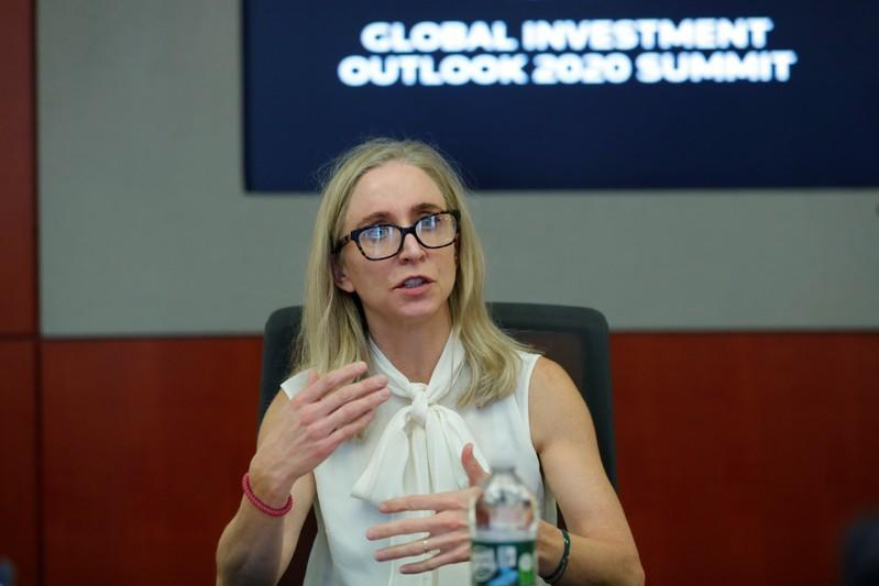 Heather McPherson, a co-portfolio manager and analyst at T. Rowe Price, speaks during a Reuters investment summit in New York City