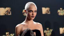 Cara Delevingne Rocks Shaved Head on MTV Awards Red Carpet -- See the Pics!