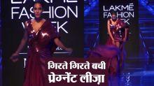 Pregnant Lisa Haydon slips on ramp at Lakme Fashion Week 2019; Watch video