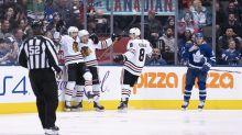 Blackhawks rookie Dominik Kubalik swats home absurd goal
