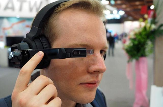 These smart headphones come with a Google Glass lookalike on the side