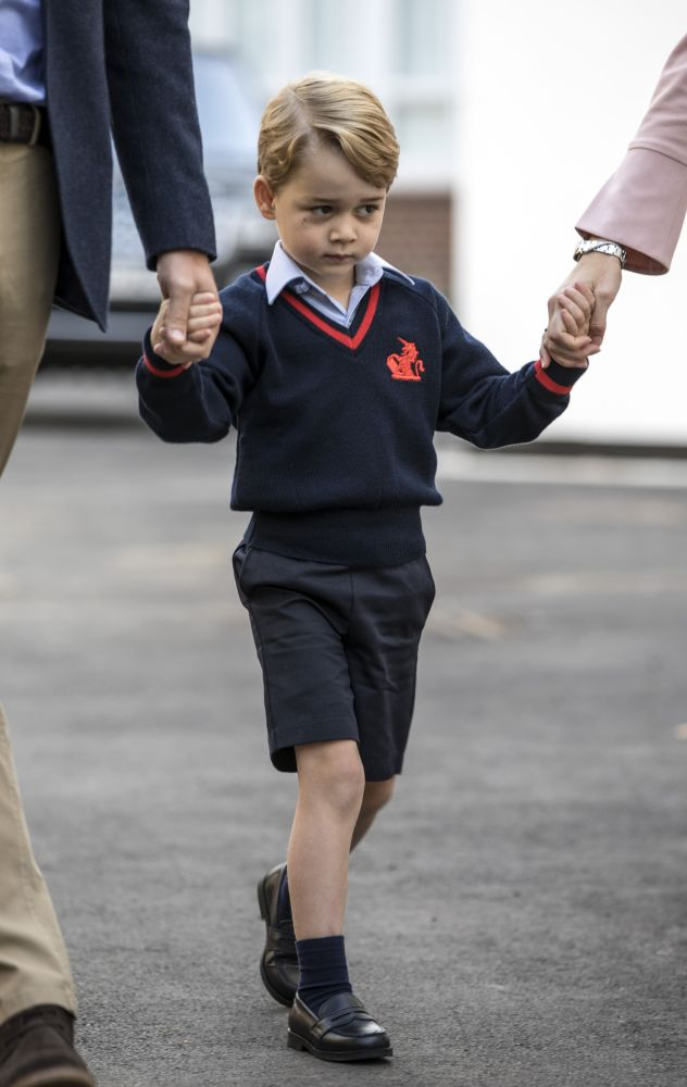 The 4-year-old royal looked a little nervous.