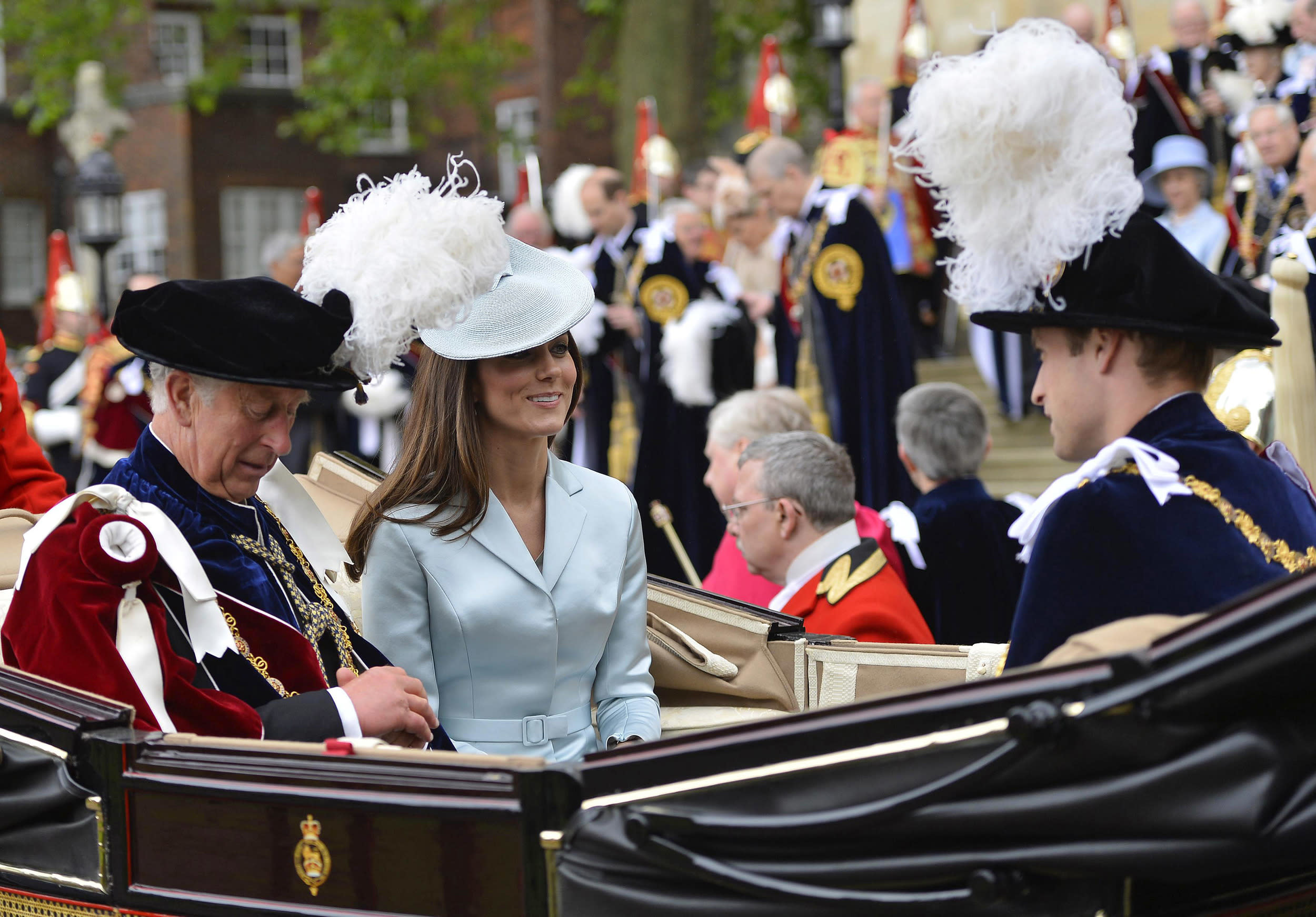 Duchess Kate attends Order of the Garter in a lovely pale blue Christopher Kane coat.