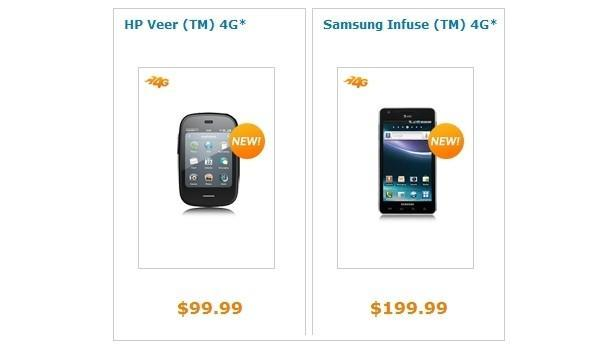 Samsung Infuse 4G and HP Veer 4G now on sale at AT&T (update)