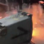Protesters Tussle as Trash Can Burns in Packed Saint-Étienne Street