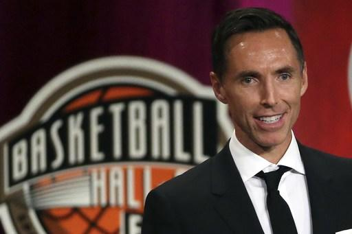 FILE - In this Sept. 7, 2018, file photo, Steve Nash speaks during induction ceremonies at the Basketball Hall of Fame, in Springfield, Mass. Nash is about to take on an expanded role in his second year with Turner Sports. The network announced on Tuesday, Aug. 6, 2019, that Nash is returning to B/R Footballs UEFA Champions League broadcasts on TNT and B/R Live. He will also be a contributor to TNTs NBA coverage when the upcoming season begins in October. (AP Photo/Elise Amendola, File)