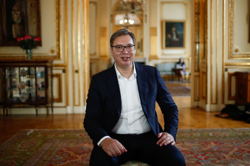 Serbian President Aleksandar Vucic during an interview with Reuters in Paris