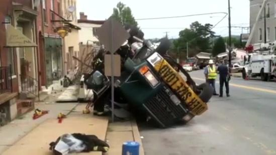 Raw video: Tractor-Trailer flips onto side in Wrightsville