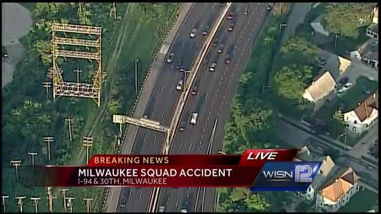 Police squad struck during I-94 traffic stop